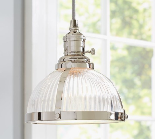 Pb classic pendant ribbed glass industrial pendant lighting by pottery barn - Industrial lighting fixtures for kitchen ...
