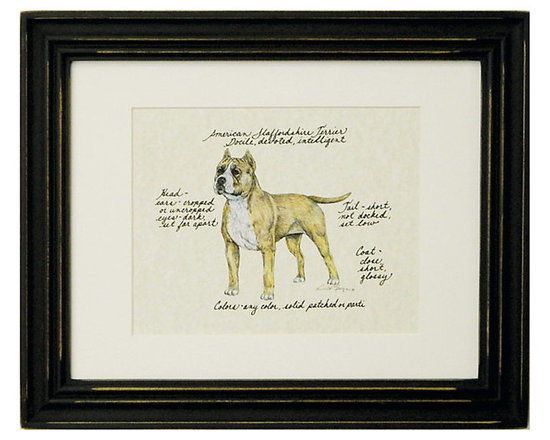 Ballard Designs - American Staffordshire Terrior - Signed by the artists. Printed on parchment. Eggshell mat. Antique black frame. Our American Staffordshire Terrier Dog Print was created by the dog-loving, husband and wife team of Vivienne and Sponge. Athletic and agile, the American Staffordshire Terrier is known to be dependable, good-natured and a loyal companion. Each Terrier portrait is hand colored and embellished with notes on the breed.American Staffordshire Terrier Dog Print features: . . . .