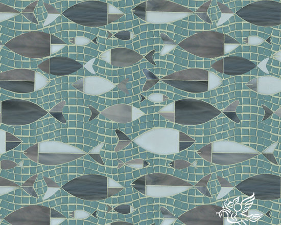 Erin Adams - Floating Fish - Floating Fish, a glass waterjet and hand cut mosaic shown in Serpentine, Labradorite, Tourmaline, and Opal, is part of the Erin Adams Collection for New Ravenna Mosaics.