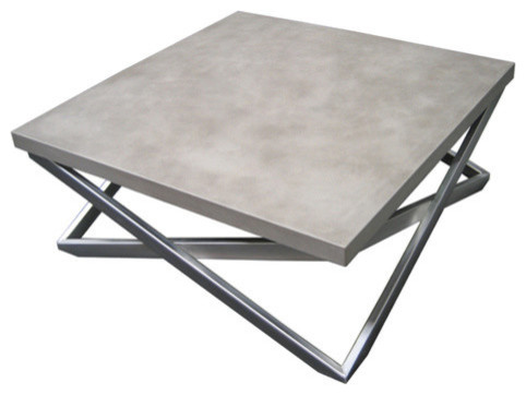 Mobius concrete coffee table white linen 36x36 modern for 36x36 coffee table