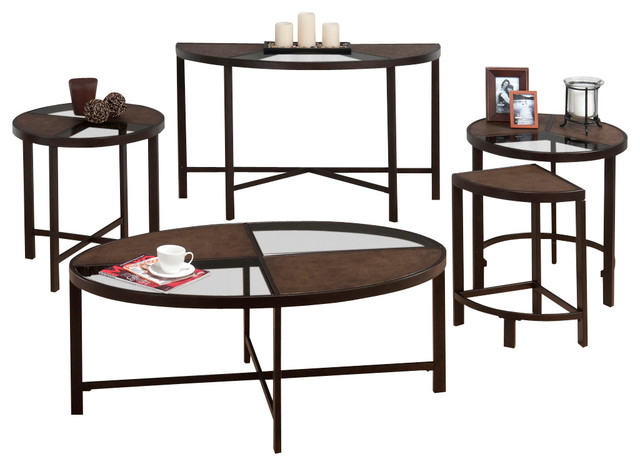 Jofran 506 1 roswell 4 piece glass coffee table set in synthetic stone and steel traditional One piece glass coffee table