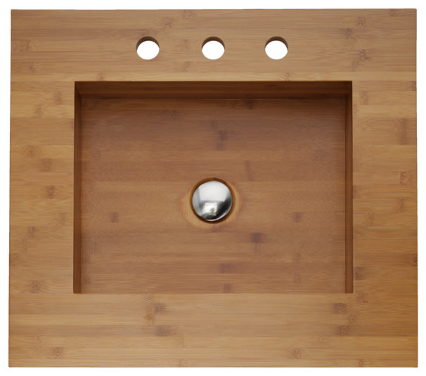 Integrated Bamboo Sink & Counter asian-bathroom-sinks