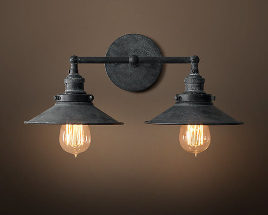 20th C. Factory Filament Metal Double Sconce, Weathered Zinc -