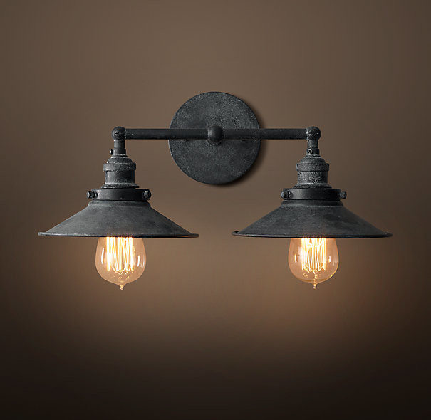 Zinc Wall Sconces : 20th C. Factory Filament Metal Double Sconce, Weathered Zinc - Industrial - Wall Sconces - by ...