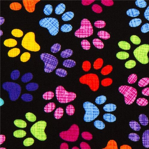 black designer fabric with colourful checkered paw prints - Fabric ...