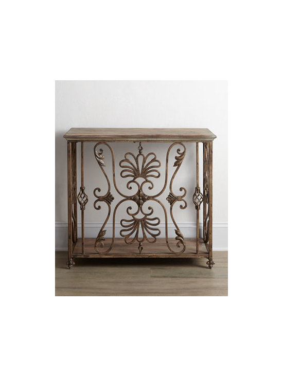 """Horchow - Astrella Console - An ornate """"cage"""" of scrolled and twisted ironwork turns this console into a work of art. It makes a dramatic addition to an entry or hallway and adds intrigue to any living space. Made of iron and wood. Distressed gray and golden antiqued finish. 40""""..."""