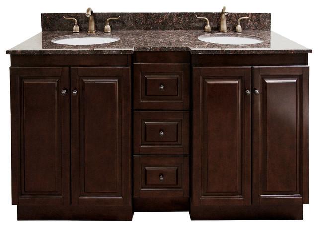 Natural Granite Top 60 inch Double Sink Bathroom Vanity in Dark