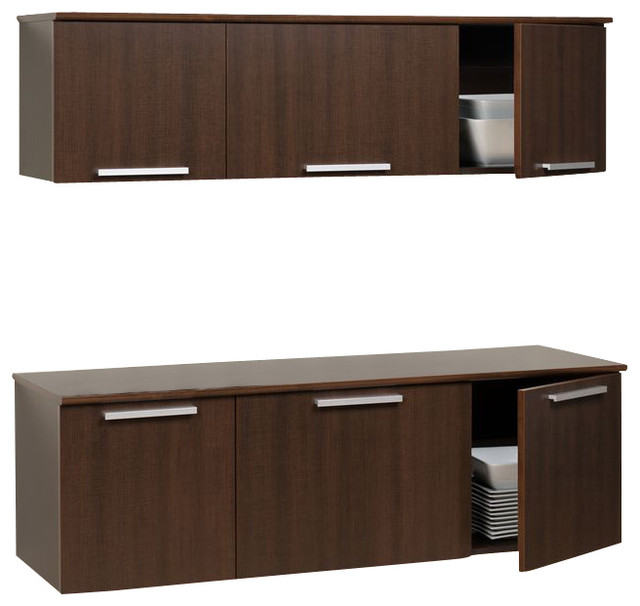 Wall Mounted Kitchen Cabinets: Prepac Coal Harbor Espresso Wall Mounted Buffet And Hutch