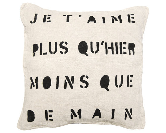 """Kathy Kuo Home - Je T'Aime Infinite Love Linen Down Throw Pillow - A French kiss for your sofa, bed or bench, this sweet and sentimental saying translates as """"I love you more than yesterday, less than tomorrow."""" Hand-printed in graphic black on natural linen, it's a great look in any language."""