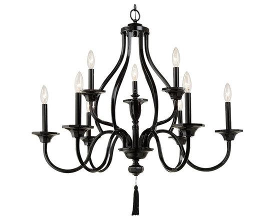 Royce Lighting - Gloss black Nine Light chandelier By Zahara Collection - Description:-