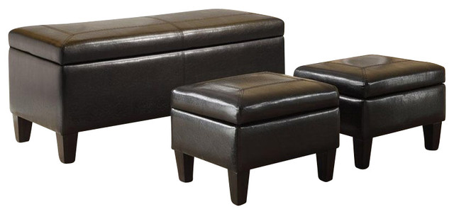 Coaster Storage Ottoman With Tufted Accents In Dark Brown