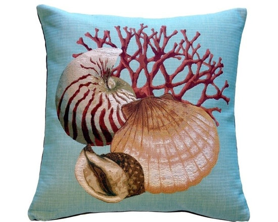 Pillow Decor Ltd. - Pillow Decor - Coral and Shells Nautical Throw Pillow - Bring the ocean into your home with this coral and shells nautical theme pillow in genuine French tapestry. The pillow is backed with a durable cotton canvas in a matching rust color. A perfect pillow for a beach house, seaside cottage or any home looking for the lure of the ocean.