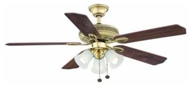 Indoor Fan and Light Kit: Hampton Bay Ceiling Fan. Glendale 52 in. Flemish Brass - Contemporary ...