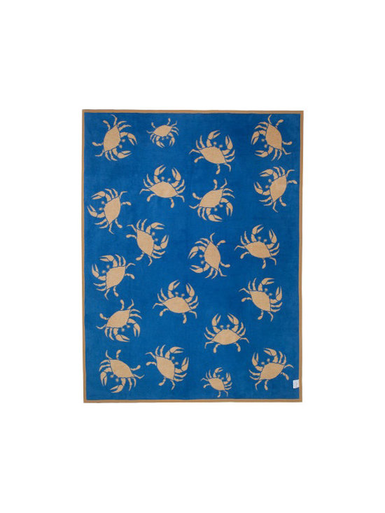 "ChappyWrap - Gone Crabbin Azure Blue/Sand Crab patterned blanket - ChappyWraps are produced by expert craftsmen using only the finest materials with a signature cotton blend jacquard weave created to last a lifetime. These irresistibly soft blankets are perfect for a cool day on the boat, a fall soccer game, snuggling in bed or sitting by a fire. ChappyWraps are 60% cotton to provide extra fluffiness, 33% acrylic and 7% polyester to prevent shrinkage and pilling, 60"" x 80"" to cover you from head to toe, reversible, machine washable and extremely durable. Wash them and they keep their fluffy feel coming out of the laundry like new, year after year."
