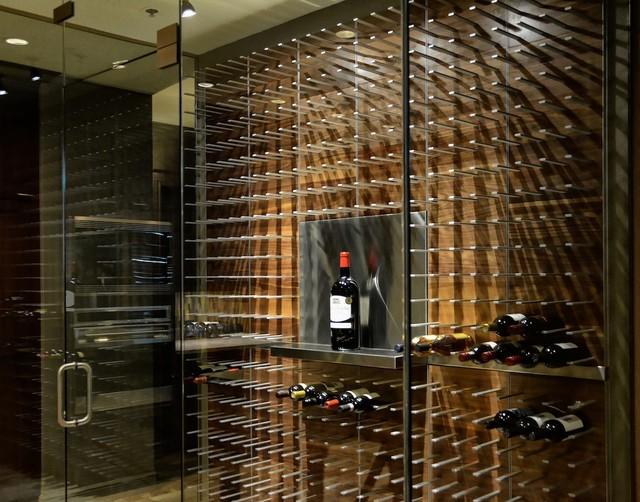 Glass Encased Wine Cellar in the Modern Kitchen contemporary-wine-cellar