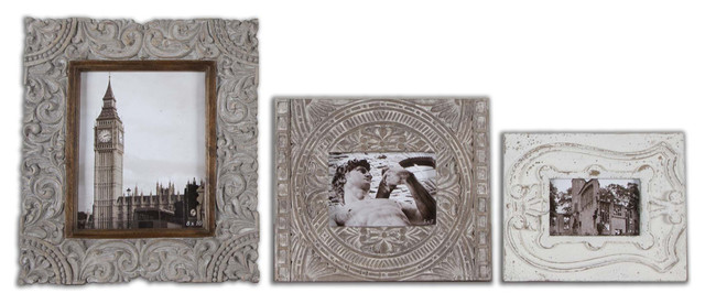 Uttermost 18556 Askan Antique White Photo Frames Set of 3 contemporary-picture-frames