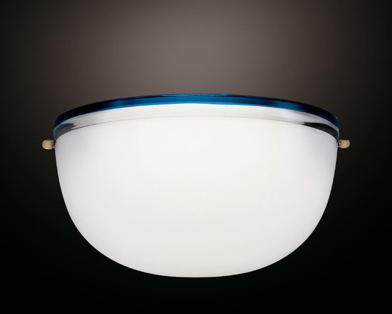 Venini - Stillboi Wall Sconce - Stillboi Wall Sconce features a Milk White shade with a Sapphire, Red, Tea, or Wisteria band around the rim of the diffuser. One 100 watt, 120 volt T3 type R7s base halogen bulb is required, but not included. 11.82 inch width x 5.9 inch height x 5.9 inch depth.