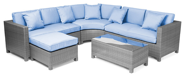 Reef Rattan 5 Piece Sectional Sofa Set Grey Rattan Blue Cushions Tropic