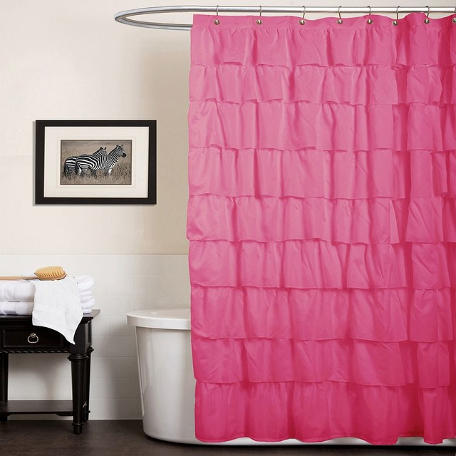 Lush Decor Ruffle Fabric Shower Curtain, Pink contemporary-shower-curtains