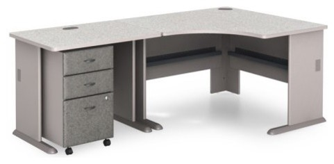 Bush A Series Corner Desk with Mobile Filing Cabinet - Pewter contemporary-desks