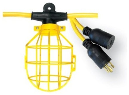 Voltec 10-Light Plastic Cage Light String With Locking Connector - Modern - Outdoor Rope And ...
