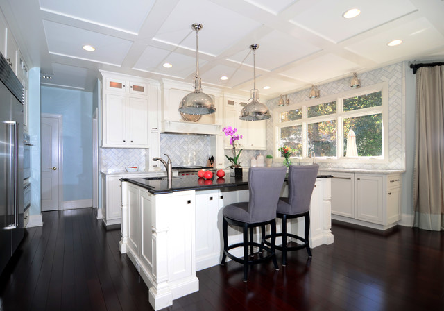 Open Plan Soft White Cabinets Contrasting Dark Floors - Contemporary - Kitchen - dc metro - by ...
