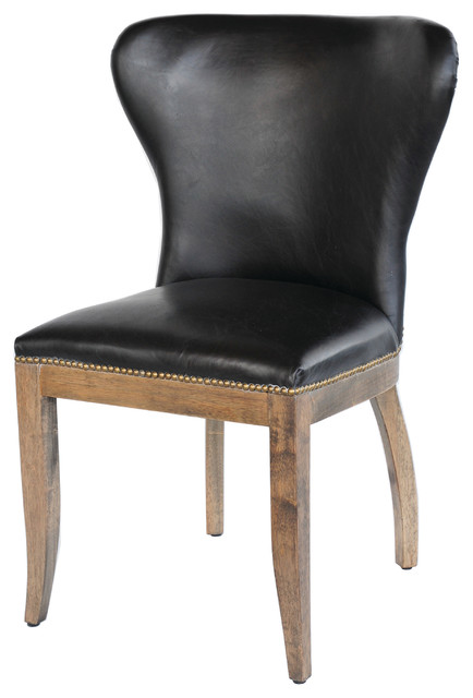 Richmond Dining Chair Old Saddle Black Weathered Oak Transitional Dining