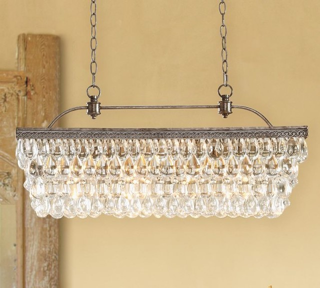Clarissa Glass Drop Extra-Long Rectangular Chandelier ...