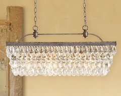 Clarissa Glass Drop Extra-Long Rectangular Chandelier contemporary chandeliers