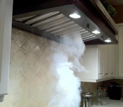 Range Hood Insert Showing Smoke Suction Power