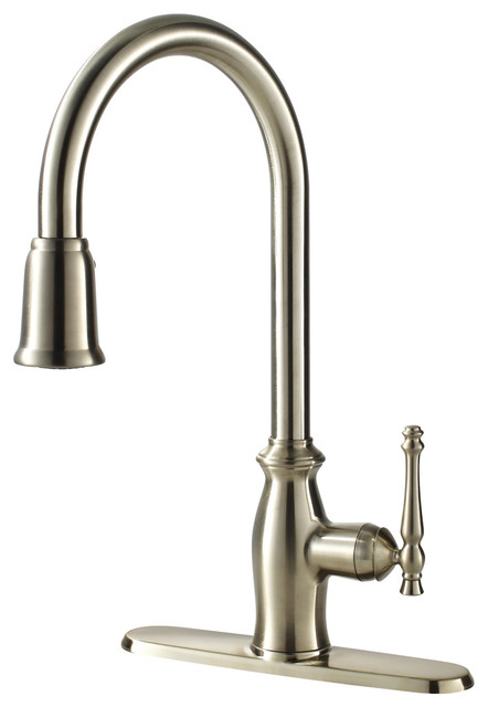 Fontaine Giordana Stainless Steel Single Handle Pull Down Kitchen Faucet Contemporary
