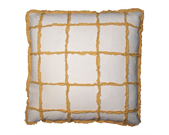 Window Pane Check Pillow Covers ~ Yellow and White - High-end Custom and Ready made pillows available on-line. A Limited Edition of Window Pane Check Decorative Pillow Covers in a Sunny Yellow and White.  Chenille Like Strips of Washed, Frayed and Fringed Linen are Appliqued to an All Cotton Twill in White. Frayed and Fringed  Double Flange as Edging Detail. See Coordinate Pillows.   Couture Custom Workroom Services Available. Artisanaworks