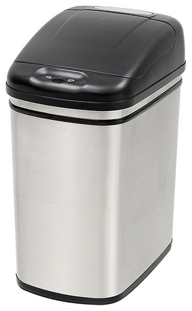 Nine Stars 7.9-gallon Stainless Steel Motion Sensor Trashcan contemporary-kitchen-trash-cans