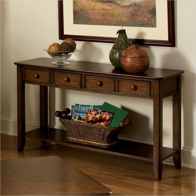 Standard furniture hialeah court sofa table in rich cherry for Console table decor ideas