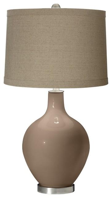 Contemporary Mocha Natural Linen Shade Ovo Table Lamp contemporary-table-lamps