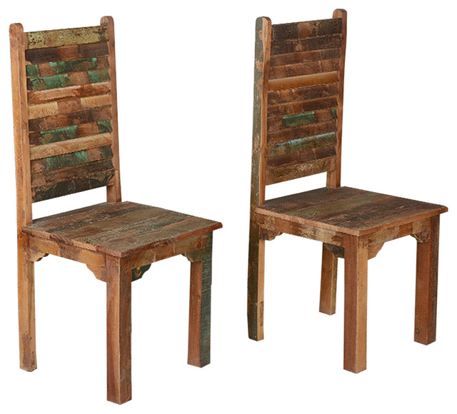 Rustic Reclaimed Wood Multicolor Dining Chairs Set Of 2 Iron With Seat Chair