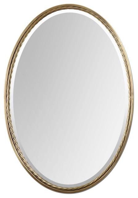 """Contemporary Uttermost Casalina 32"""" High Brass Oval Wall Mirror contemporary-wall-mirrors"""