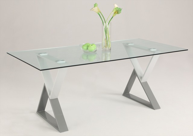 "60 Rectangular Glass Top Dining Table: Whitney 40"" X 71"" Whitney Rectangular Glass Dining Table"