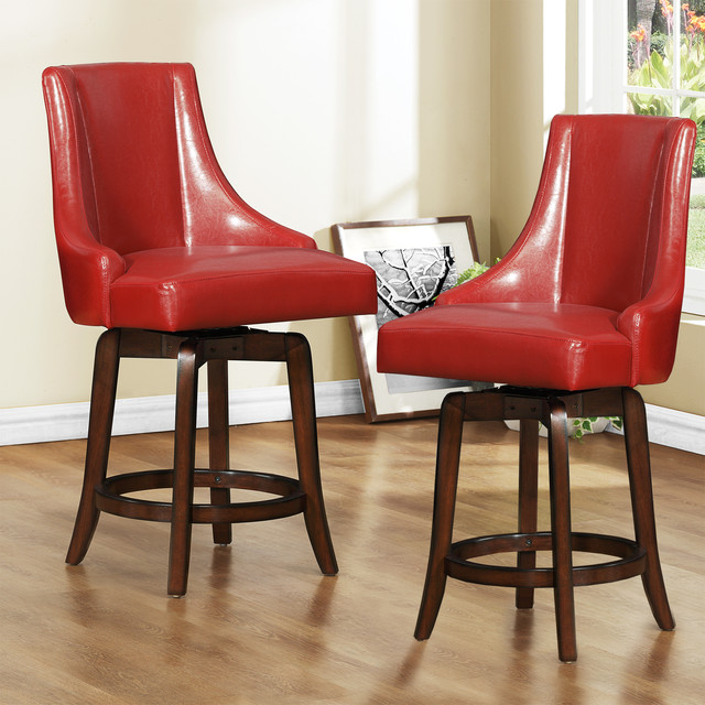 Bar Stools 24 Counter Height: Vella Warm Red Swivel 24-inch Counter Height Stool (Set Of