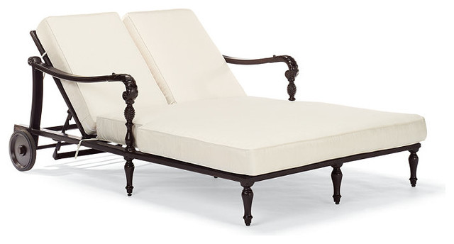 British Colonial Double Outdoor Chaise Lounge With Cushions Traditional O