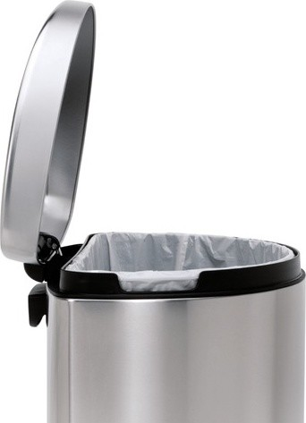 Semi-Round Step Trash Can in Brushed Stainless Steel modern-kitchen-trash-cans