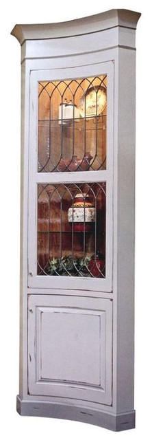 Tall Leaded Glass Corner Display Cabinet - $4,500 Est. Retail - $2,000 ...