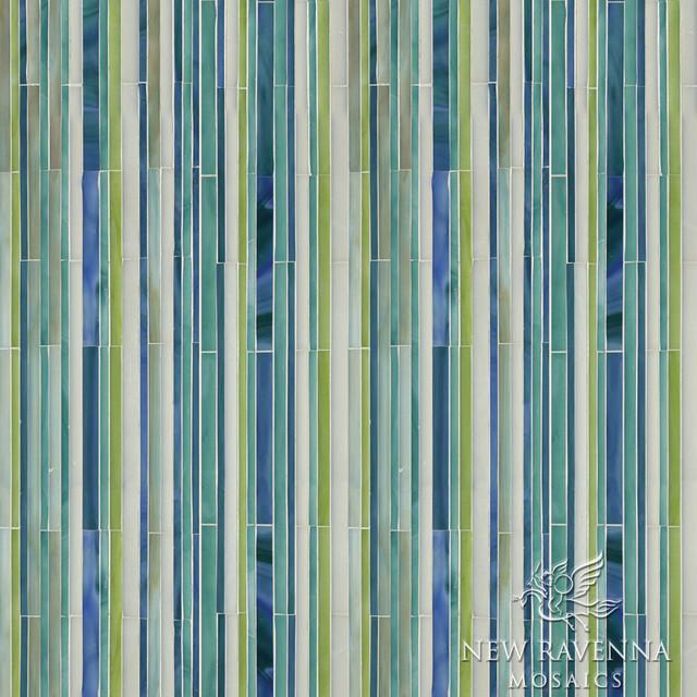 Random Stripes Jewel Glass Mosaic traditional-tile