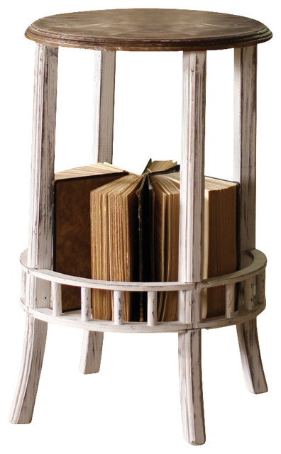 White-Wash Side Table W/ Book Storage Rustic-nightstands