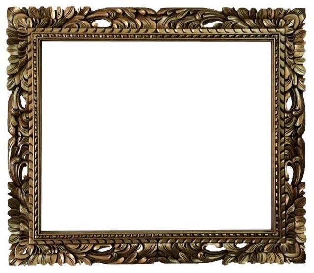 20x24 Rectangle Gold Mid Century Mirror Frame Baroque