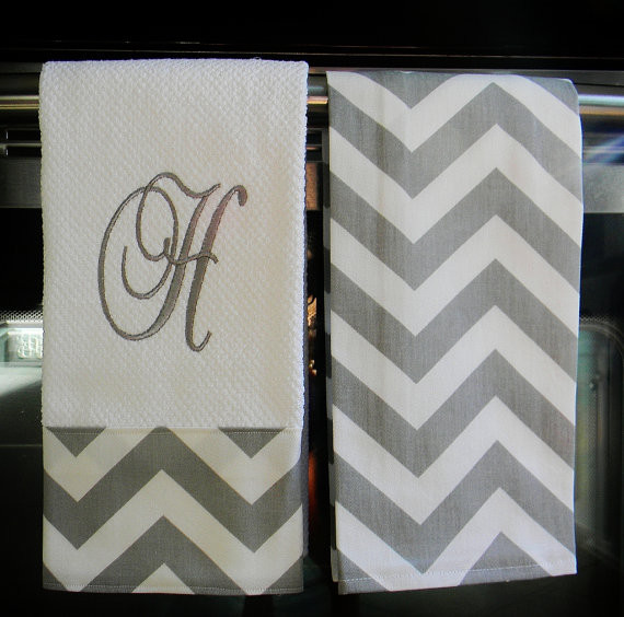 Gray and White Chevron Monogrammed Dish Towels by Designs By Them contemporary dishtowels