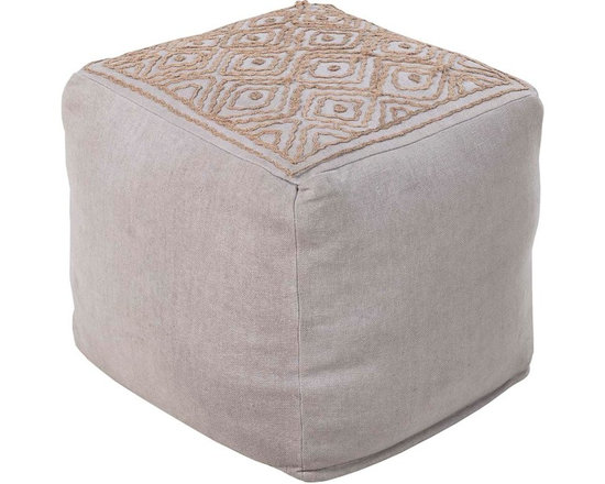 Surya - POUF-207 Atlas Pouf - This square pouf offers a fresh design and bright colors that will add sophistication and visual interest to any room.  Made in India of mostly Linen, this product is durable and priced right.
