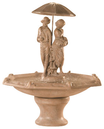 Springtime Fountain with Octagon Bowl, Cantera traditional-outdoor-fountains-and-ponds