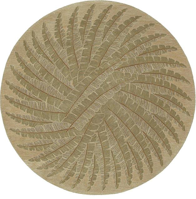 "Kaleen Tara Rounds Pablo 3'9"" Round Gold Rug tropical-rugs"