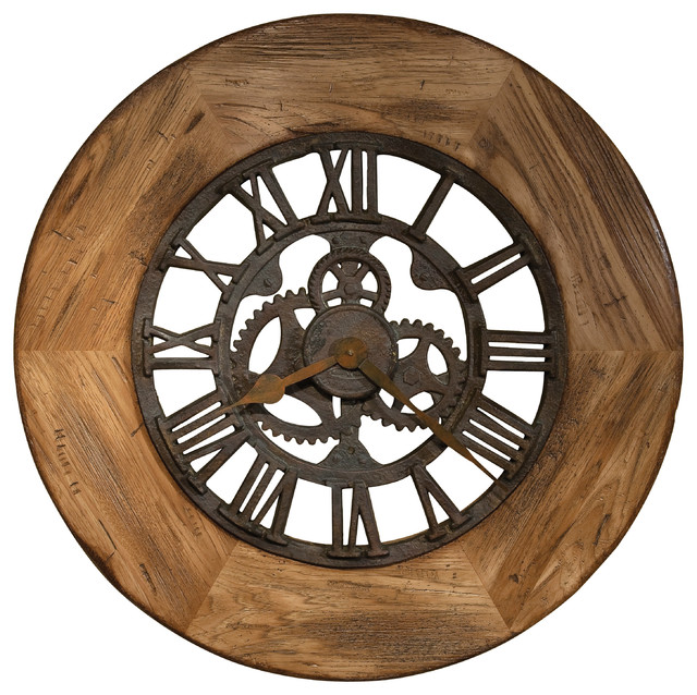 howard miller oversize georgian wall clock wood frame rustic wall clocks